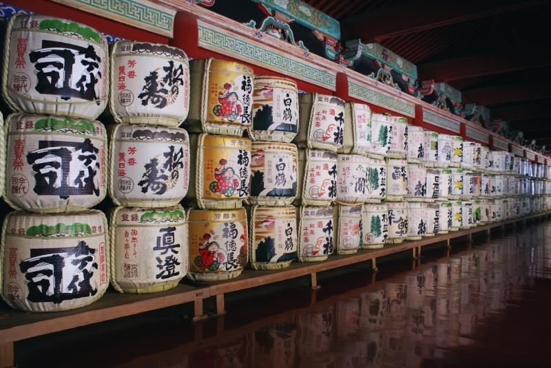 Nikko Japan sake barrel Unesco kazaridaru szaké hordó botte di sake