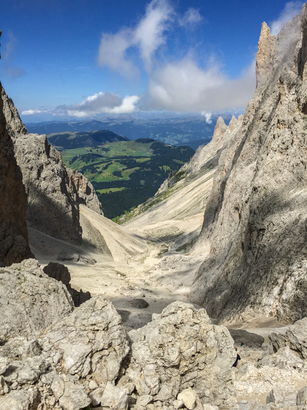 Refugio Demetz Hiking around Sasslong Dolomites Mountains Sud Tirol Italy summer