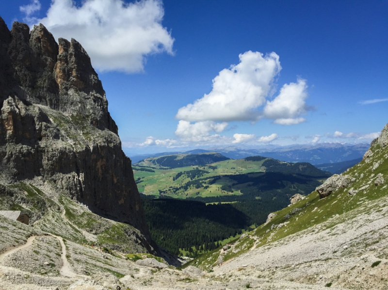 Hiking around Sasslong Dolomites Mountains Sud Tirol Italy summer