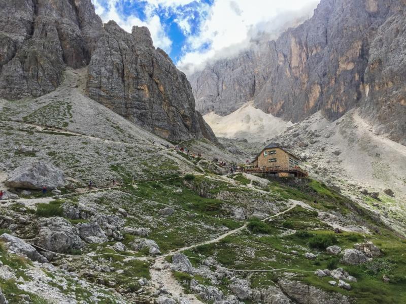 Refugio Vicenza Hiking around Sasslong Dolomites Mountains Sud Tirol Italy summer