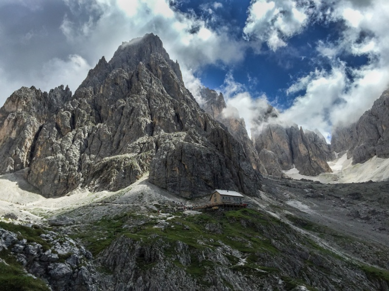 Hiking around Sasslong Dolomites Mountains Sud Tirol Italy summer