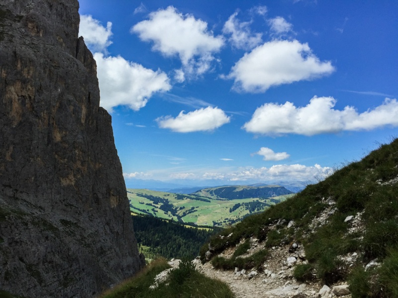 Hiking around Sasslong Dolomites Mountains Sud Tirol Italy summer Alpe di Siusi