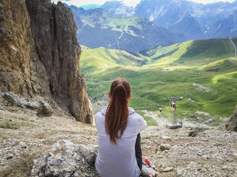 Refugio Toni Demetz Hiking around Sasslong Dolomites Mountains Sud Tirol Italy summer