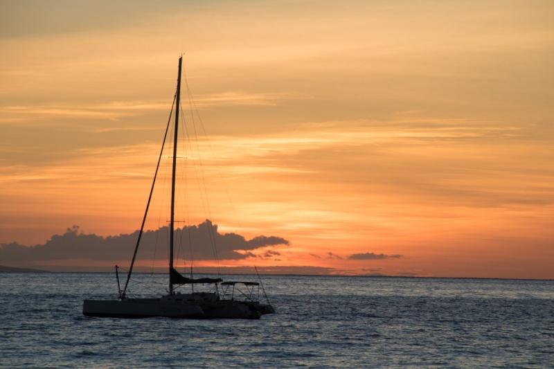 sunset hawaii maui big island beach sun boat