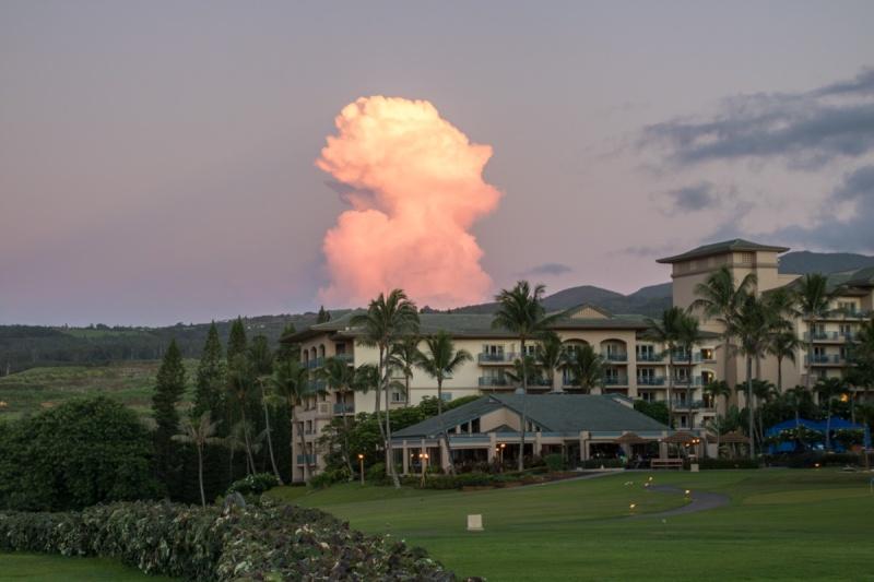 sunset hawaii maui big island beach storm cloud ritz carlton
