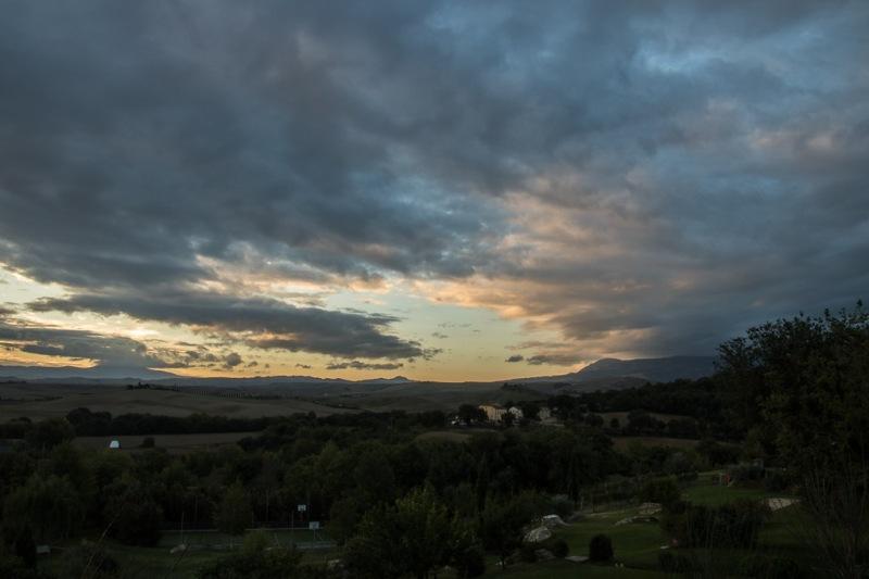 Italy Tuscany Val d'Orcia Bagno Vignoni Adler sunrise
