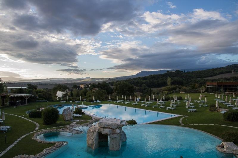 Italy Tuscany Val d'Orcia Bagno Vignoni Adler Pool Garden