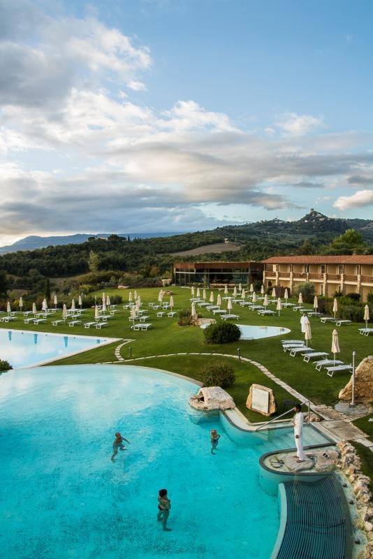 Italy Tuscany Val d'Orcia Bagno Vignoni Adler Morning Yoga Pool